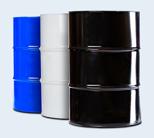 blue, white, and black industrial oil drums