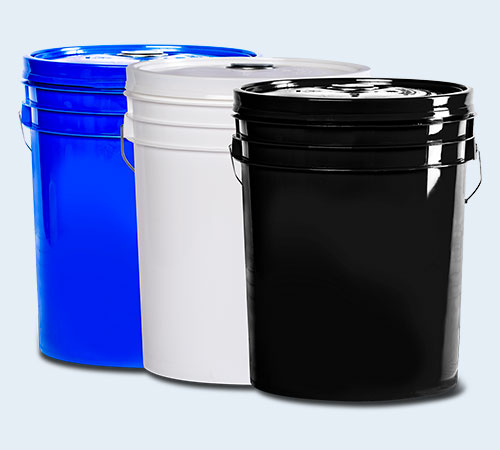 blue, white, and black oil pails