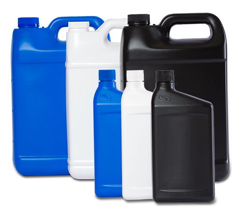 blue, white, and black quart and gallon oil containers